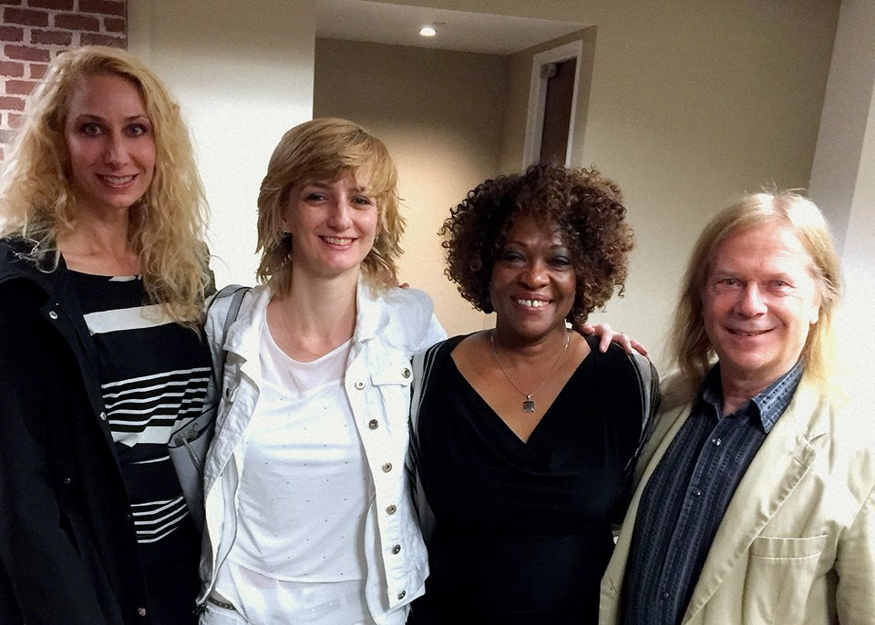 Photo of Melissa Studdard, Amy King, Rita Dove and Fred Viebahn in Minneapolis.